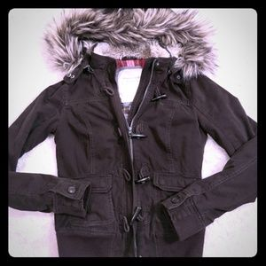Abercrombie & Fitch bomber jacket faux fur hood